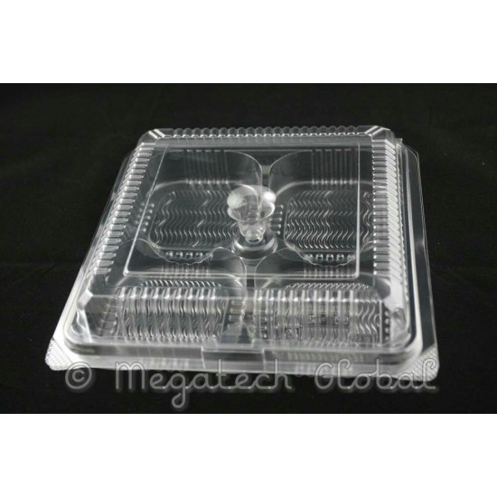 APET Clear 4-Cavities Tray w/Hinged Lid (BX-188)