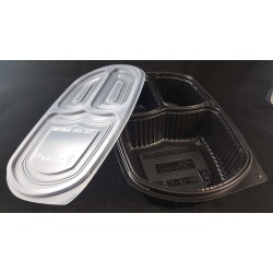 PP Blk Base Lunch Tray - 3 Portions