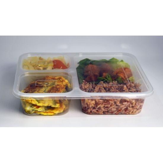 PP Blk Base Lunch Tray w/Flat Lid (3 Portions)