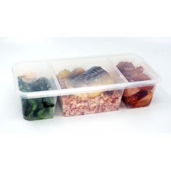 PP Natural Base Lunch Tray w/Flat Lid (3 Portions)