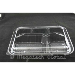 Lunch Blk Base Tray w/Lid - 5 Cavities